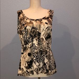 Ann Taylor Dressy Sleeveless Floral Pattern Blouse